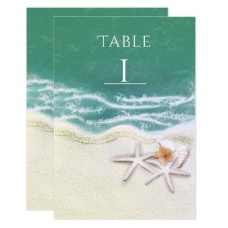 Cartão Estrela do mar no número da mesa de água do mar da