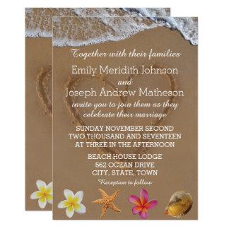 Cartão Estrela do mar Shell do Plumeria que Wedding