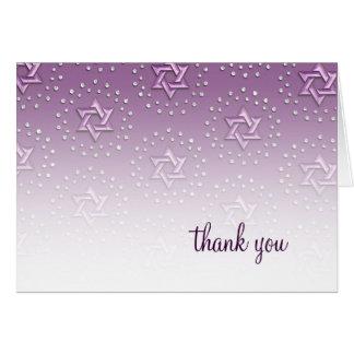 Cartão Estrela roxa do obrigado do damasco de David você
