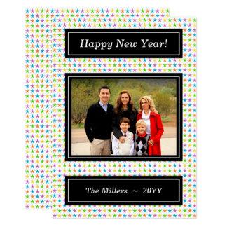 Cartão Estrelas coloridas - foto do feliz ano novo