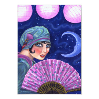 Cartão Estrelas da lua do fã da menina do Flapper dos