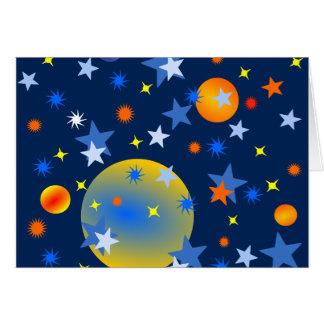 Cartão Estrelas e planetas celestiais