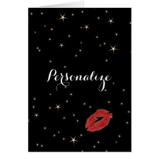 Cartão Estrelas glamoroso do ouro com beijo vermelho do