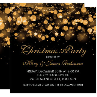 Cartão Estrelas & luzes Sparkling do ouro da festa de