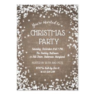 Cartão Estrelas rústicas da festa de Natal   do país de