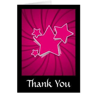 Cartão Estrelas super do rosa quente e fundo do