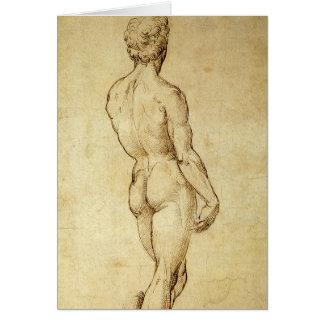 Cartão Estudo da estátua do David de Michelangelo por