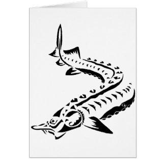 Cartão Esturjão tribal - beluga de Huso