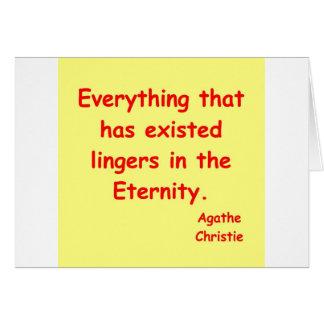 Cartão eternidade do christie do agatha