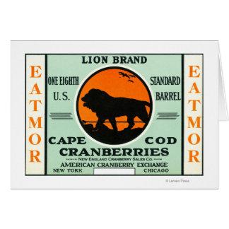 Cartão Etiqueta de marca dos arandos de Eatmor do leão de