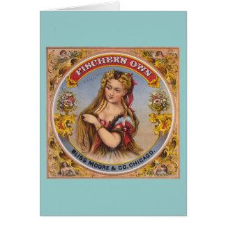 Cartão Etiqueta do tabaco de mastigação do vintage de