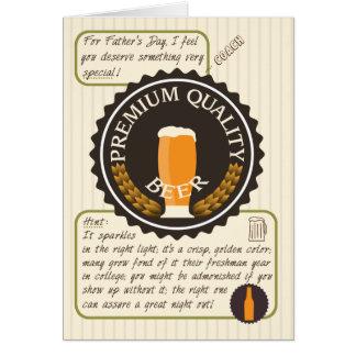Cartão Etiqueta retro da cerveja do dia dos pais