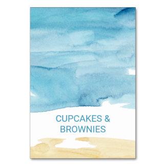 Cartão Etiquetas da areia da aguarela e da comida do