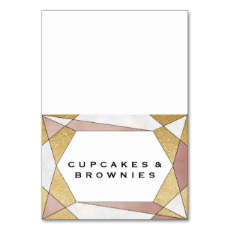 Cartão Etiquetas geométricas Glam da comida do bufete do