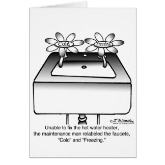 Cartão Etiquete o frio & o congelando dos torneiras