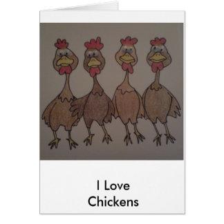 Cartão Eu amo a galinha