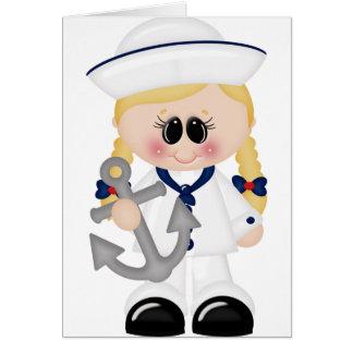 Cartão Eu amo a menina do marinheiro do mar