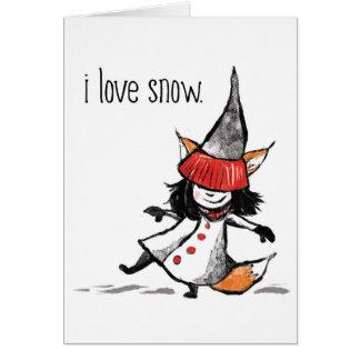 Cartão eu amo a neve