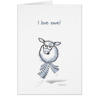 Cartão Eu amo a ovelha! Aniversário feliz!
