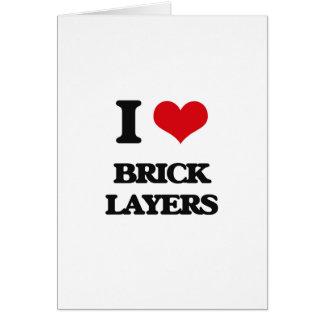 Cartão Eu amo camadas de tijolo