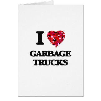 Cartão Eu amo caminhões de lixo