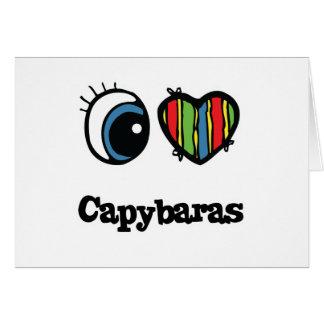 Cartão Eu amo Capybaras (do coração)