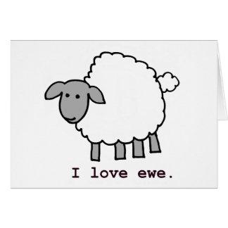 Cartão Eu amo carneiros da ovelha