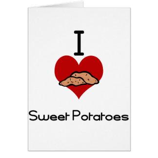 Cartão Eu amo (coração) batatas doces
