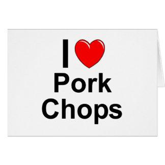Cartão Eu amo costeletas de carne de porco do coração