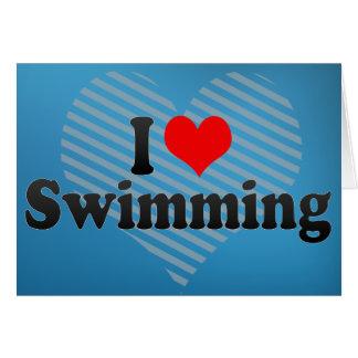 Cartão Eu amo nadar