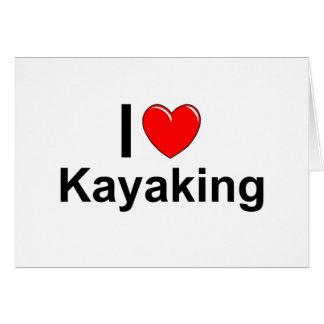 Cartão Eu amo o coração que Kayaking