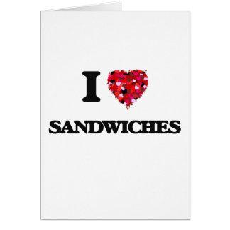 Cartão Eu amo o design da comida dos sanduíches