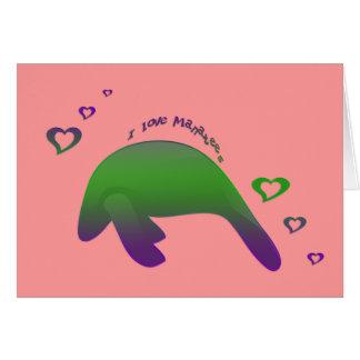 Cartão Eu amo o roxo verde dos peixes-boi - personalizado