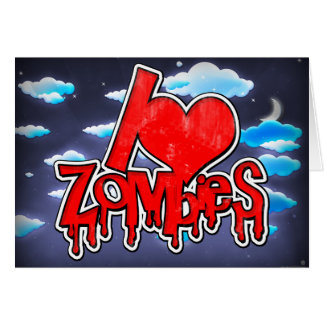 Cartão Eu amo os zombis vermelhos