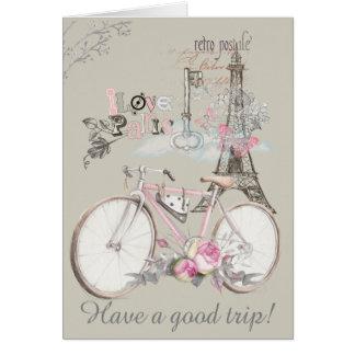 Cartão Eu amo Paris. Tenha uma boa viagem!