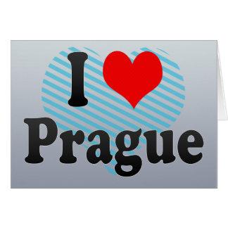 Cartão Eu amo Praga, república checa