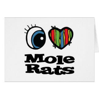 Cartão Eu amo ratos de toupeira (do coração)