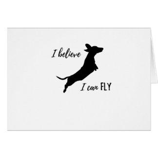 Cartão Eu belive mim posso voar o dachshund
