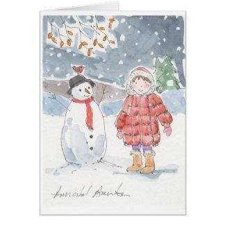 Cartão Eu fiz um boneco de neve!