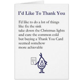 Cartão Eu gostaria de agradecer-lhe - um obrigado subtil