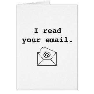 Cartão Eu li seu email
