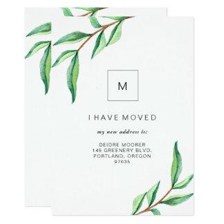 Cartão Eu movi as folhas verdes minimalistas de |