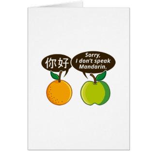 Cartão Eu não falo o mandarino