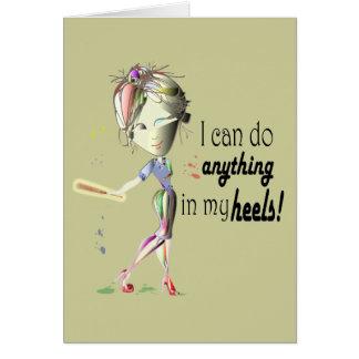 Cartão Eu posso fazer o basebol em meus saltos! Arte dos