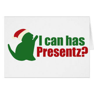 Cartão Eu posso tenho o lolcat de Chirstmas dos presentes