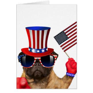Cartão Eu quero-o, pug, cão do tio Sam,