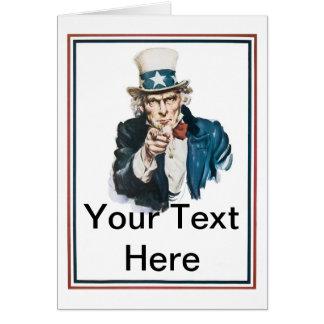 Cartão Eu quero-o que o tio Sam personaliza seu texto