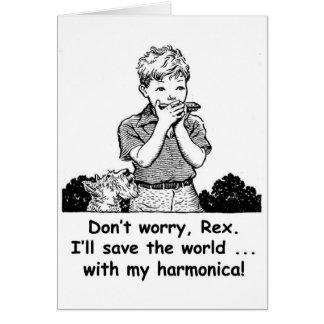 Cartão Eu salvar o mundo… com minha harmônica!
