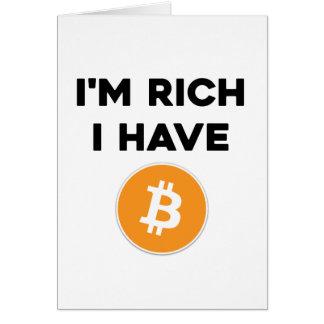 Cartão Eu sou rico - eu tenho Bitcoin