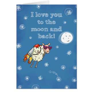 Cartão Eu te amo à lua e à parte traseira